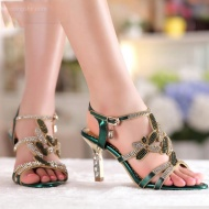 Rhinestone Wedge Sandals $89.99