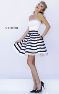 Luscious Stripes Belted Party Dress by Sherri Hill