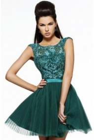 Open Back Emerald Pleated Tulle Party Dress With Lovely Bow