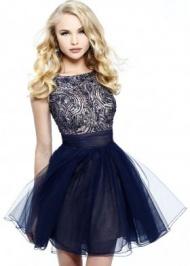 Open Back Navy Short Rhinestone Top Sleeveless Homecoming Dress