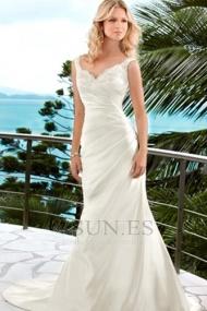 Vestidos de novia Playa Hasta el suelo tafetán gris claro Corte Sirena