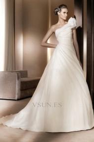 Vestidos de novia Pera Glamouroso Blusa plisada Volante Un sólo