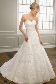 Vestidos de novia Corte princesa Encaje Sala Espalda medio