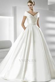 Vestidos de novia Volantes Adorno Satén Iglesia Natural Tallas