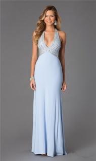 Ice Blue Bead Halter V Neck HL-211s66360 Long Prom Dress