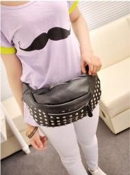 2015 New Women Rivet Sequin PU Leather Waist Bags