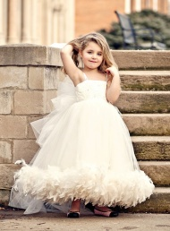 Flower Girl Dress Tulle Spaghetti Straps Feather Beaded Dresses$86.59