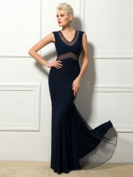 Elegant Sheath V-Neck  Evening Dress $92.89