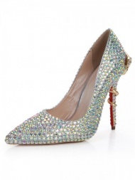 S-shaped Heel Diamond Pointed Toe Shoes-US$54.23