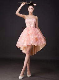 Sweet Strapless A-Line Lace Sweet  Dress$95.79