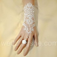 Luxurious  Lace Pearl Flower Wedding Glove$27.99