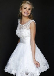 Sleeveless Sheer White Pearl Beaded Lace Homecoming Dress