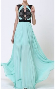 2015 Light Green BCBG Pleated A-Line Lace Floral Long Party Dress