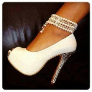 Chic White  Strap High Heel Shoes$78.99