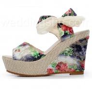 Printing  Lace Up Platform Sandals$47.49