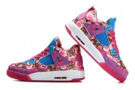 Female Style Air Jordan Retro IV 4 Pink Flower and Blue/White Co
