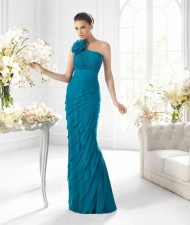 $176 Red Prom Dresses - One Shoulder Floor Length Sheath Column Chiffon Blue Evening Dress at www.promdressbycolor.com