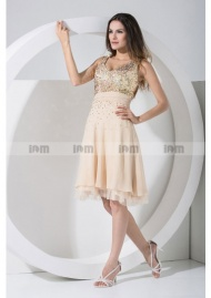 V-neck Knee-length Sequins Lace Bodice Chiffon Cocktail Dresses