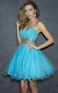 Night Moves 6820 Turquoise A-line Beading Short Prom Dress