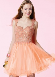 Beautiful Beaded Lace Appliques Lace Up Back Coral Cocktail Dress
