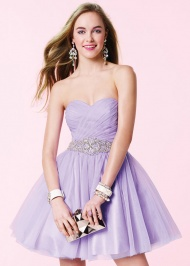 Cute Pleated Bodice Strapless Beaded Waist Open Back Lilac Party Dress