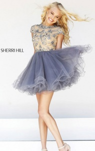 Sherri Hill 21304 Nude/Gunmetal Short Sleeves A-line Beaded Tulle Homecoming Dress