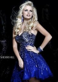 Navy Sweetheart Sherri Hill 8524 Sparkly Homecoming Dress Cheap Sale