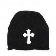 Chrome Hearts White Cross Embellished Black Knit Cap