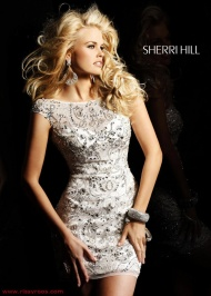 Sherri Hill 2948 White/Silver Cap Sleeves 2015 Prom Dress 2015 Discount