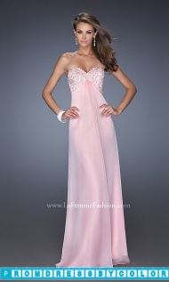 $173 Red Prom Dresses - Strapless Empire Waist La Femme Long Prom Dress at www.promdressbycolor.com