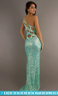 $194 Red Prom Dresses - Primavera One Shoulder Sequin Open Back Gown at www.promdressbycolor.com