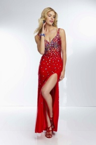 $177 Red Prom Dresses - V Neck Floor Length Sheath Column Chiffon Red Military Ball/Evening Dress at www.promdressbycolor.com