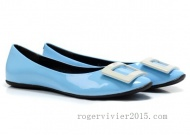 Product Details:Roger Vivier Gommette Patent Leather Ballerinas Flats Light Blue  * Light Bule leather ballets shoes * White toned signature buckle detail on top * Flat heel * Round cap toe  * Leather upper, in-sole and sole. http://www.rogervivier2015.com/