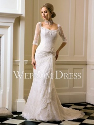 Button Hourglass|Pear-Shaped|Rectangle Lace Chapel Train Three-quarter Sleeve Square lace wedding dresses -wepromdresses.com