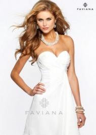 Ivory Faviana 7075 Strpless Flirty Pleated Homecoming Dress