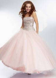 Jewel Beaded Top Strapless Pink Tulle Lace Up Back Prom Dresses