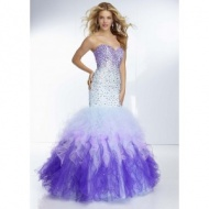 Beaded Mori Lee 95084 Purple White Omber Mermaid Prom Gown