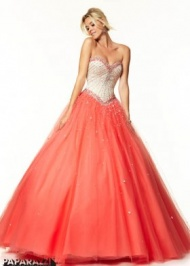 2015 Champagne Coral Strapless Special Occasion Dress