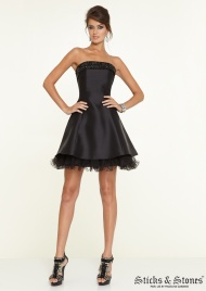 Strapless Black Lace Short Homecoming Dresses With Tonal Beading