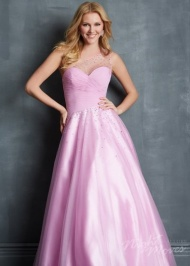 Long Lilac Sheer One Shoulder Night Moves 7085 Beaded Evening Gown