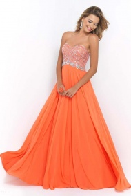 Blush 9930 Coral Chiffon Full Length Inexpensive Evening Gowns