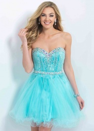Aqua Tulle Strapless Tee Length Homecoming Dresses