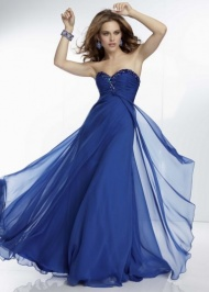 Mori Lee 95035 Navy Long Jeweled Neckline Pleated Maxi Dress
