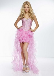 Mori Lee 95069 Pink Beaded Top Ruffled Strapless High to Low Party Dress