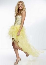Mori Lee 95069 Yellow Jewel Beaded High Low Ruffled Evening Dress