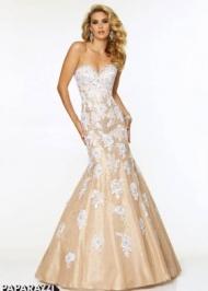 White Lace Nude Bodice Strapless Unique Prom Dresses