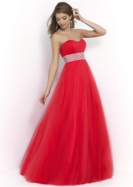 Sexy Red Pleated Top Crystal Beaded Waist Blush 5407 Sweetheart Ball Gown