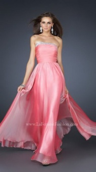Pink Beaing Outlining Bust Pleated Long Chiffon Evening Dresses Online