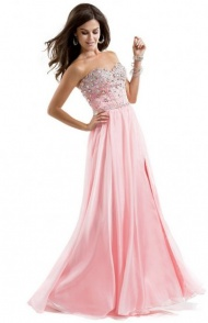 Pink Glitzy Stone Beaded Top Long Strapless Slit Evening Dress 2015