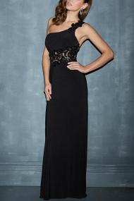 One Shoulder Chiffon Black Appliqued Floor Length Evening Dress
